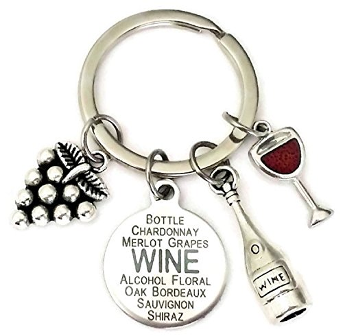 (Wine Keychain, Wine Bottle Keychain, Grape Keychain, Wine Glass Keychain, Red Wine Keychain, Wine Charm Keychain, Gift for Wine Lovers, Red Wine Key Ring, Wine Key Ring)
