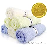 """MUMSON Luxury SOFT Baby Bath Washcloths, Family Choice Awards Winner and Baby Maternity Top Chocie Award winner 6 Pack 10""""x10"""" Larger Organic Bamboo Washcloths-Reusable Wipes for Sensitive Skin."""