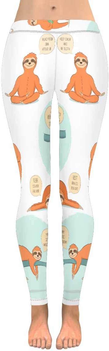 2XS-5XL Cute Cartoon Floral Sloth Pink Custom Stretchy Capri Leggings Skinny Pants for Yoga Running Pilates Gym