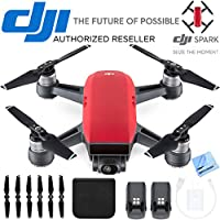 DJI CP.PT.000735 SPARK Intelligent Portable Mini Drone Lava Red Battery Bundle
