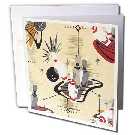 3dRose Lee Hiller Designs 50s Retro Print - Atomic Bowling - 1 Greeting Card with envelope (gc_4949_5) ()