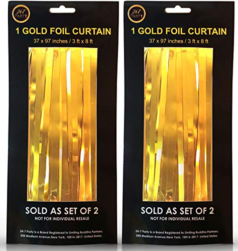 Gold Tinsel Curtain (Set of 2) - Stunning Foil Fringe Backdrop - Ideal Party Backdrop or Photo Booth Props for Bachelorette & Birthday Decorations, Graduation, Christmas & New Years Eve -