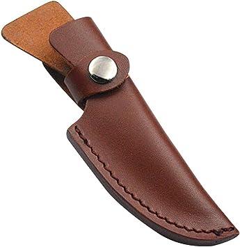 Juegos de cuchillos para exteriores, estuche de cuero para cuchillos, funda de cuero superior con funda cutánea hecha a mano, fácil de llevar para pelar, cuchillo suizo y salvaje y más: Amazon.es:
