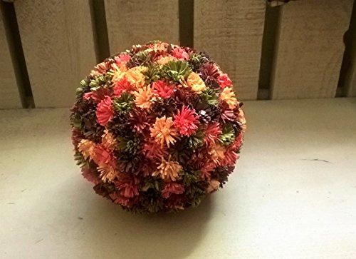Fall Quilled Paper Flower Mum Kissing Ball Centerpiece