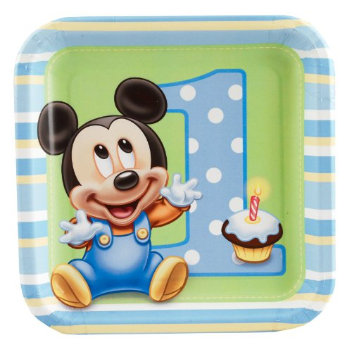Mickey's 1st Birthday Dessert Plates (8 (Baby First Tv Party Supplies)