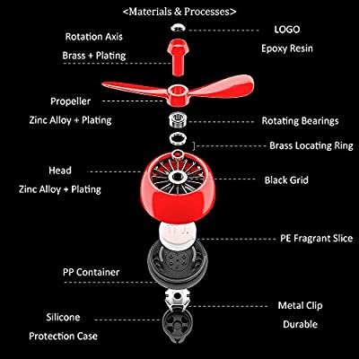 INEBIZ New Upgrade Air Force II Car Air Freshener Aromatherapy Essential Oil Diffuser Locket Clip with 5 Refill Pieces (Red): Automotive