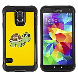 Suave TPU Caso Carcasa de Caucho Funda para Samsung Galaxy S5 SM-G900 / Turtle Cool Summer Yellow Sun Glasses Art / STRONG