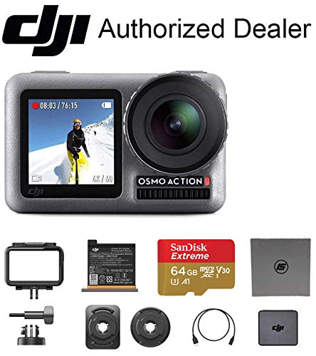 DJI OSMO Action with 64 GB Memory Card - Dual Touch Display Waterproof Digital Action Camera with 4K HD Video 12MP Photos Live Streaming Stabilization
