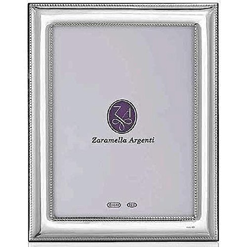 Luxurious ROMA double-beaded border Sterling Silver frame by Zaramella Argenti Italy - 2.5x3.5