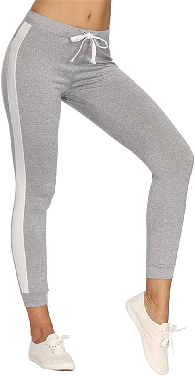 Ansenesna Jersey Hose Damen Seitentasche Stretch Skinny Elegant Sporthosen Frauen mit Kordel Freizeit Jogginghose