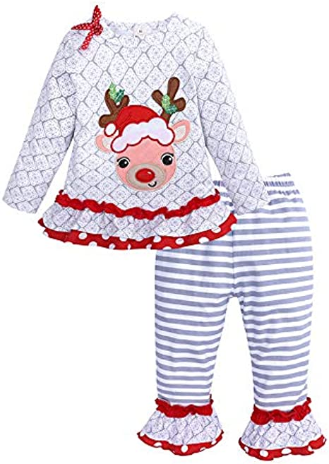 AMhomely Toddler Kids Baby Girls Christmas Deer Striped Tulle Dress+Headband Outfits Set Sale UK Size Best Gift for Children
