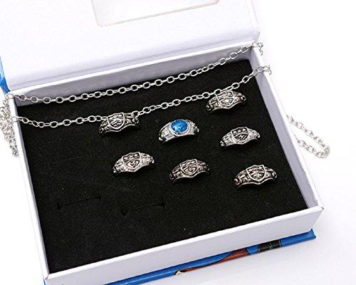 CTMWEB Katekyo Hitman Reborn Accessories - Set of Seven Rings and Necklace