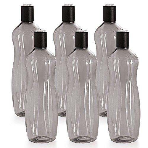 Cello Sipwell PET Bottle Set, 1 Litre, Set of 6, Black