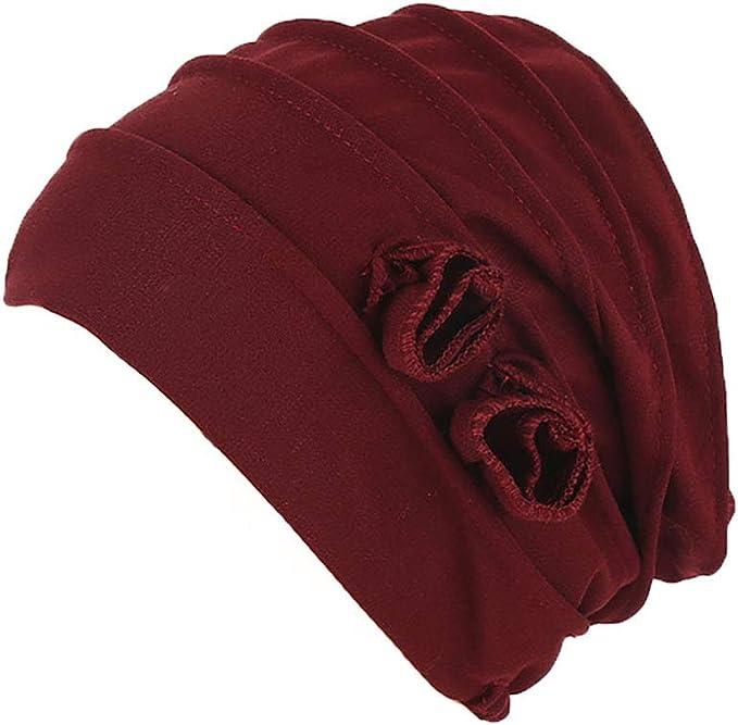 Boomly Turbantes Gorro Quimio para Mujer Gorra Chemo Cancer Quimioterapia Pañuelos Musulmana De Algodón Suave Color Sólido Flor Gorrita Tejida (Rojo Vino): Amazon.es: Ropa y accesorios