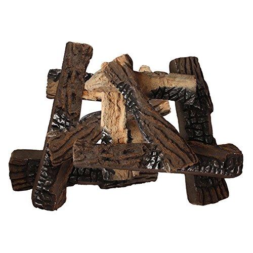 Moda Flame Set of 8 Ceramic Fireplace Wood Gas Logs