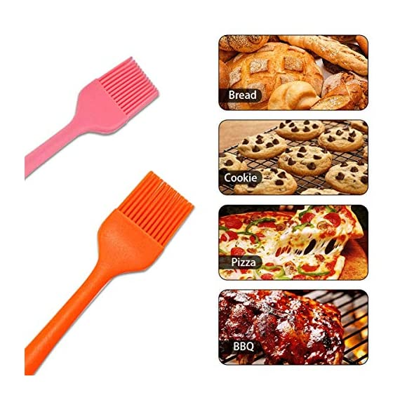 IMOE Silicone Basting Brush Set,2 Pack Heat Resistant BBQ Pastry Oil Brush, Turkey Honey Cream Baster,Food Grade,Dishwasher Safe,FDA Approved,Bristle Free 3 ★Unique Set★: Come with 1 long orange pastry brush(10.4in) and 1 short pink brush(8.3in) can meets all different usage, also easy for distinguished with different colors. ★Multi-Use★: Good grips oil brush are Great for toast,jam,honey,bread, condersed mil,BBQ, roast,honey baster and more. Heat resistant up to 446?F / 230?C ★Dishwasher Safe★: This food grade baster set are made from FDA approved silicone with steel core inside.Won't melt, discolor or shrink like some plastic nylon brushes. And the britles or brush head won't falls off on your foods.