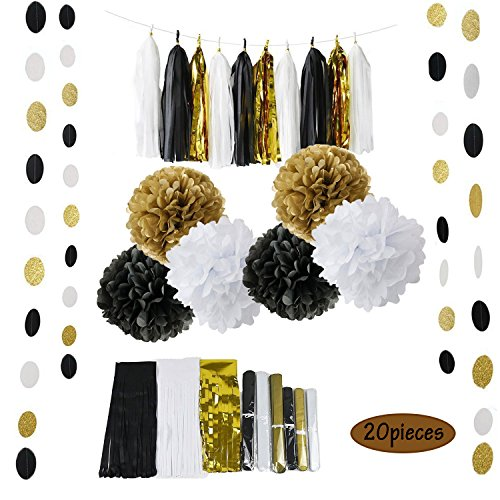 Conjugal Bliss 20PCS Party Supplies Black White and Gold Happy Birthday Banner Tissue Paper Flowers Tissue Tassel Garland For Wedding Baby Shower Party Decorations (Black + (Black And White Halloween Mask Printables)