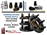 4pc 5x100 to 5x114.3 17mm Subaru Conversion Adapter 56.1mm Hub Centric   Includes 4 Black Wheel Locks & 1 Key