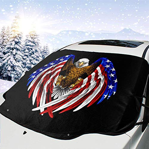 CHILL¡¤TEK America Flag -6 Universal Vehicle Front Window Visor Protector Heat Snow Guard Protector Keep Your Car Cool All Year-Around Use Size 57.9x46.5 Inch ()