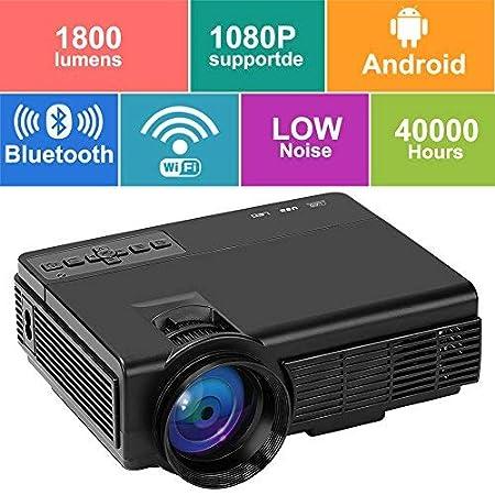 Proyector CPX-Q5L, Mini proyector de Video Cine en casa con 1800 lú menes y 170 '' Pulgadas. Soporte 1080P HDMI / VGA / TF / AV y USB