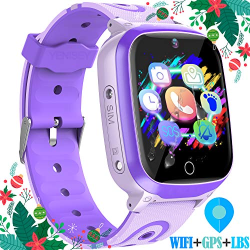 """YENISEY Kids Smart Watches GPS Tracker - 12 Hrs Waterproof Smartwatch with 1.4"""" Touch Screen WiFi GPS LBS Track SOS 2 Way Call Voice Chat Pedometer Health Fitness Watch for Boys Girls (Purple)"""