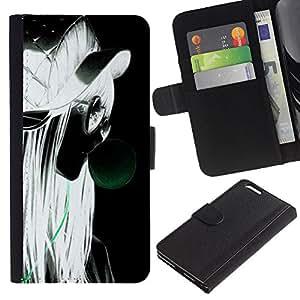 QCASE / Apple Iphone 6 Plus 5.5 / chica perfil retrato estilo grunge rubia gafas / Delgado Negro Plástico caso cubierta Shell Armor Funda Case Cover