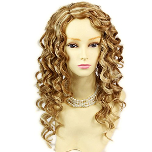 Lovely Stunning Long Curly Blonde mix skin top Wigs Versatile Hair Ladies Wig -