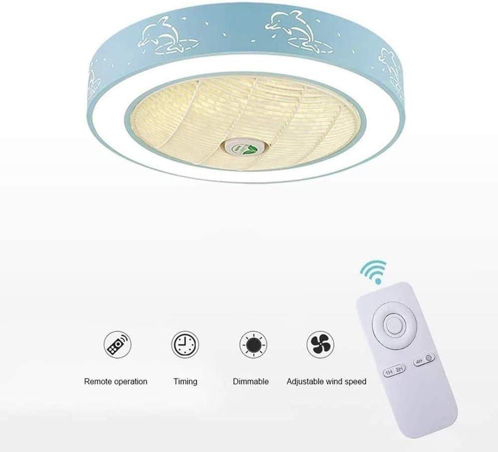QIYUE Ventilador de techo LED de luz nórdica Estilo creativo de la lámpara pendiente Fixture Ronda Dolphin Patrón Macaron Ventilador luces de araña de luz invisible mudo del ventilador con control rem
