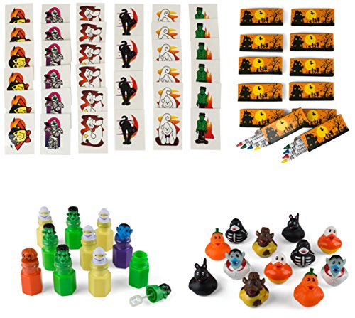 Neliblu Halloween Mega Toy Novelty Assortment Includes 12 Halloween Ducks, 12 Halloween Themed Character Bubbles, 36 Halloween Glitter Tattoos, 12 Boxes Halloween (Non Scary Halloween Treats)