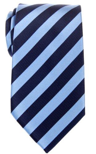 Navy Regimental - Retreez Exquisite Regimental Stripe Woven Microfiber Men's Tie - Navy Blue and Light Blue