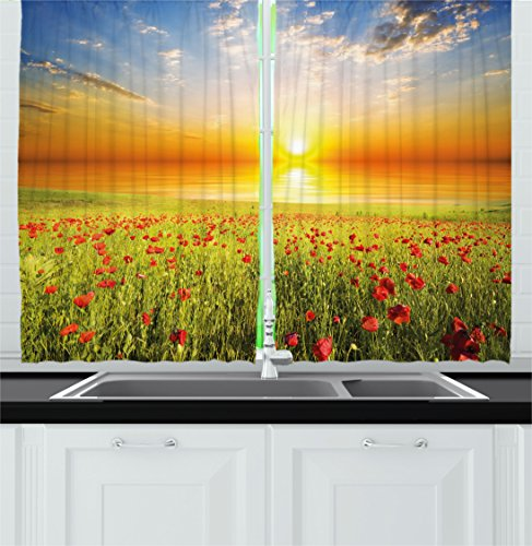 Ambesonne Nature Kitchen Curtains, Poppy Meadow with Horizon
