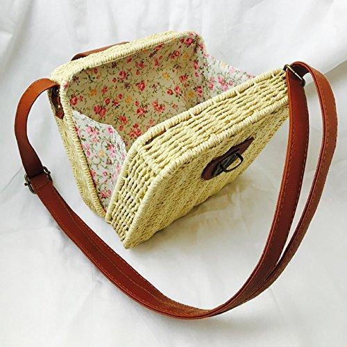 straw HT Bolso al Rosa para bag hombro mujer woven Rxxrqw1td