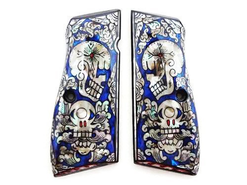 Mother of Pearl Inlay Browning Hi Power 9mm Gun Grips Blue Skull