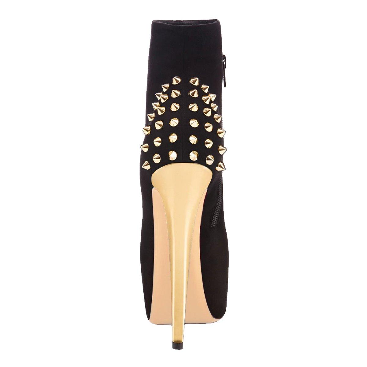 Onlymaker Damen Pumps Stiletto Stiefel mit High Heels Kurzschaft Stiefelette mit Stiefel Plateau schwarz and gold 7965a6