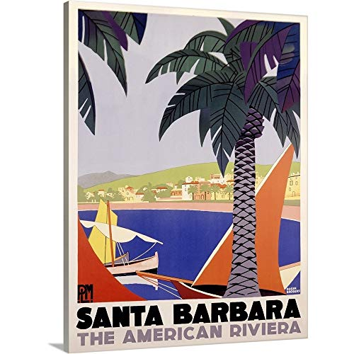 Canvas on Demand Premium Thick-Wrap Canvas Wall Art Print entitled Santa Barbara American Riviera Vintage Advertising Poster 18''x24'' by Canvas on Demand
