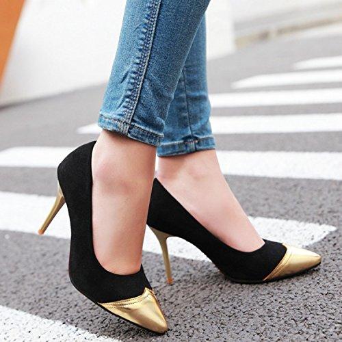 Azbro Mujer Zapato Estilete Bomba Slip-on de Color Bloque con Puntera Punta Negro