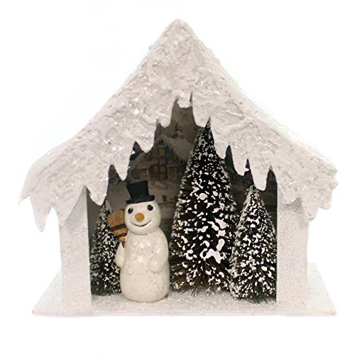 Christmas Snowman House Vignette Polyresin Glitter Snowman Td7668