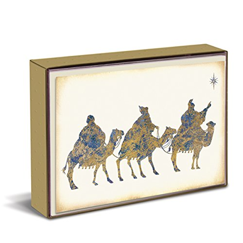 (Graphique Wise Men Christmas Greeting Cards - 15 Embellished And Embossed Gold Foil Three Wise Men Holiday Cards with Matching Envelopes and Storage Box, 4.75