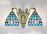 XNCH 6-inch Wall Sconces - Tiffany Style Mediterranean Design Glass Wall Lamp with Alloy Base - Vintage Wall Light Living Room Cafe Bath Mirror Lamps E27-2