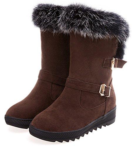 des neige fourrure mi femmes élégant moyen pour Talon bout enfiler côtelée rond mollet pour bottes sur brun talon Easemax à en qH1naza6