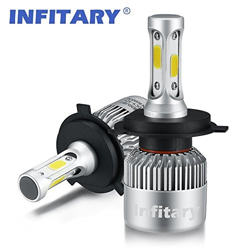 Infitary H4 LED Headlight Bulbs Hi/Lo Beam Auto Headlamp Dual Beam Car Headlight 72W 6500K 8000LM Extremely Super Bright COB Chips Conversion Kit for Car- 1 Pair- 1 Year Warranty (H4/9003/HB2 Hi/Lo) (Car Headlamp Bulbs)