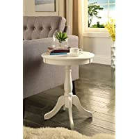 White Finish Wooden Round Chair Side End Table 18 Diameter