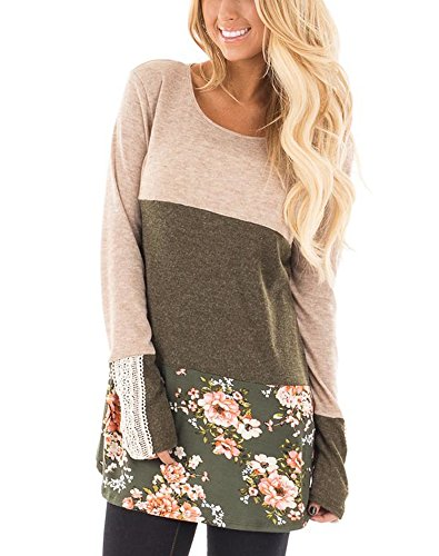 FARYSAYS Women's Color Block Striped Crewneck Patchwork Long Sleeve Comfy Tunic Tops