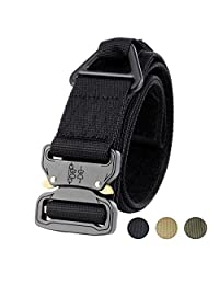 Fairwin Tactical Belt CQB Rigger Waistbelt, Adjustable Military Style Webbing Outdoor Heavy Duty Metal Buckle with Triangular V-Ring
