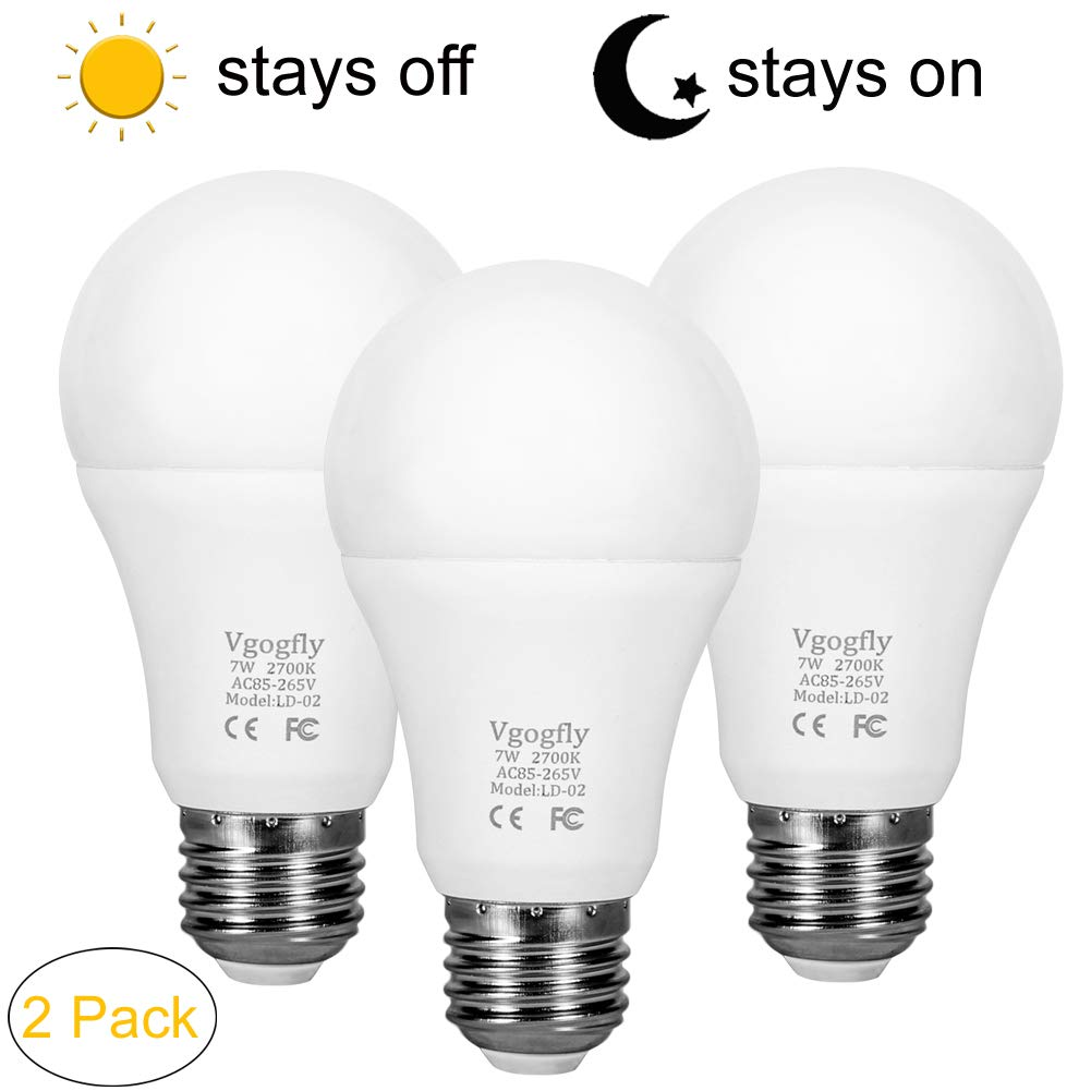 Dusk to Dawn Light Bulb Sensor Smart LED Outdoor Lighting Bulbs Lamp 7W E26/E27 Automatic On/Off, Indoor/Outdoor Yard Porch Patio Garden (Warm White, 3 Pack) by Vgogfly (Image #1)
