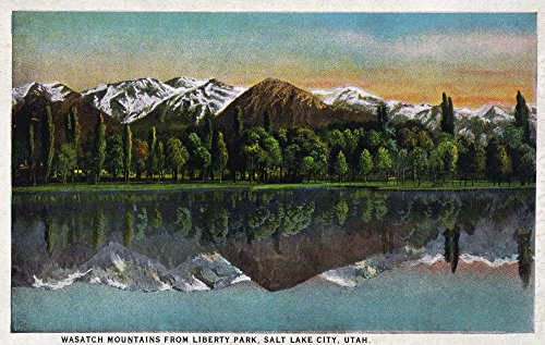 Salt Lake City  Utah   View Of The Wasatch Mountains From Liberty Park  12X18 Art Print  Wall Decor Travel Poster