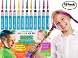 HAIR CHALK FOR GIRLS - & BOYS, 12 Temporary Hair Color for Kids, Vibrant & Washable Hair Dye Pens, Works on Dark or Blond Hair, Perfect Birthday Gift Set, Girls Hair Accessories Toy Crayons