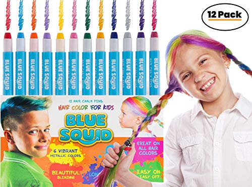 HAIR CHALK FOR GIRLS - & BOYS, 12 Temporary Hair Color for Kids, Vibrant & Washable Hair Dye Pens, Works on Dark or Blond Hair, Perfect Birthday Gift Set, Girls Hair Accessories Toy Crayons]()