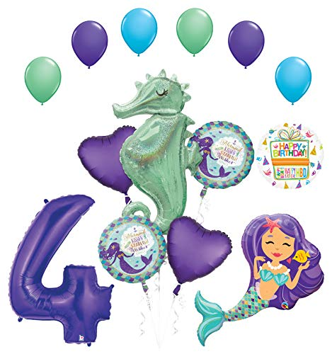 Mermaid Wishes and Seahorse 4th Birthday Party Supplies Balloon Bouquet Decorations]()