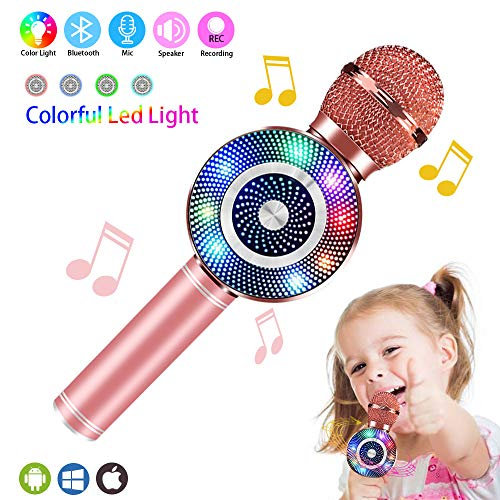 Weird Tails Wireless Bluetooth Karaoke Microphone,5-in-1 Portable Handheld karaoke Mic gifts for men women Home Party Birthday Speaker Machine for iPhone/Android/iPad/Sony, PC All Smartphone(rose) (Microphone Electronic)